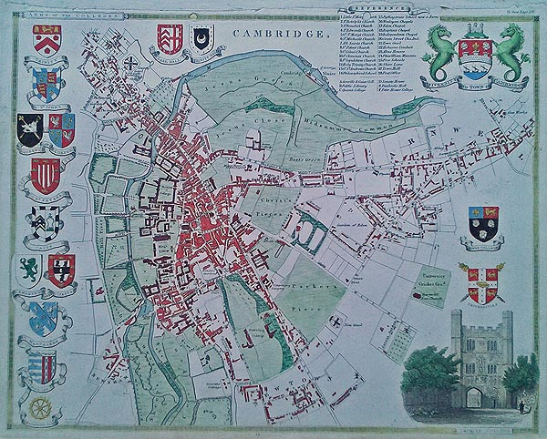 Old Maps Of Cambridge By Thomas Moule Hand Coloured Scarce - Buy old maps online