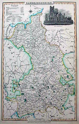 Cambridgeshire antique map