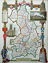 Cambridgeshire antique map by Moule