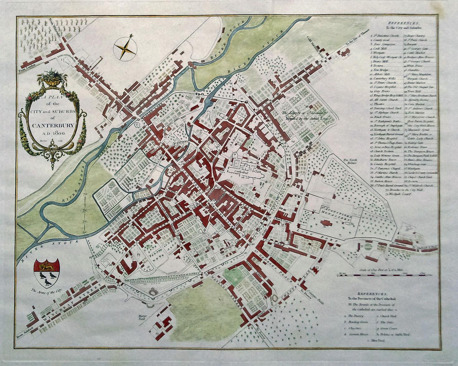 Map Of England 1800.Very Decorative 19th Century City Map Of Canterbury Circa 1800