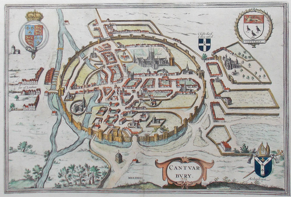 Antique City map of Canterbury for sale circa 1672