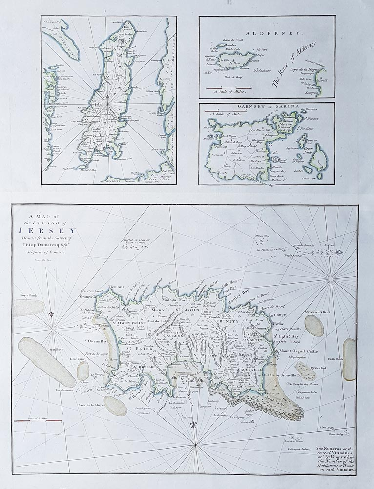 rare map of Channel Islands dated 1789 by John Cary