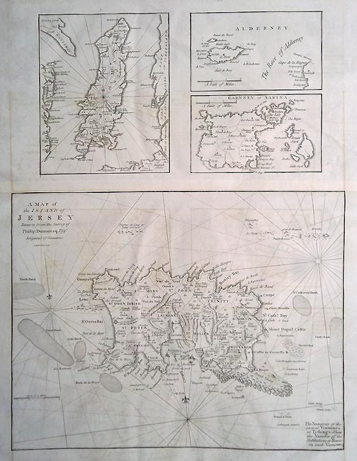 18th century map of Channel Islands by Cary