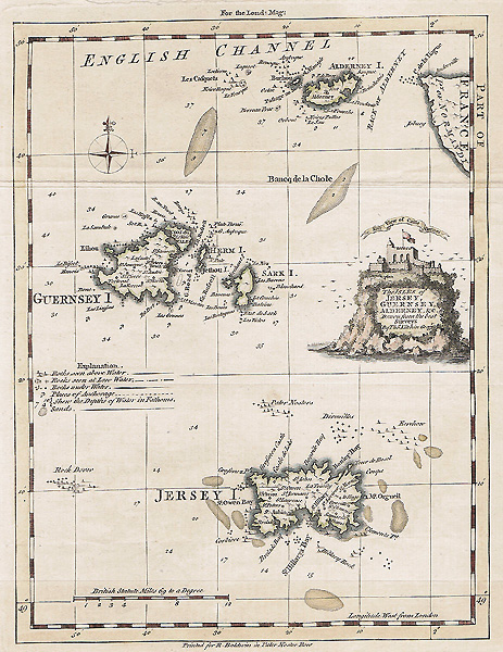 Channel Islands map Antique