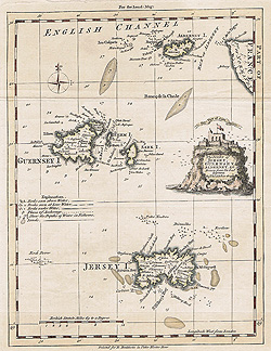 Channel Island antique map for sale - 18th century