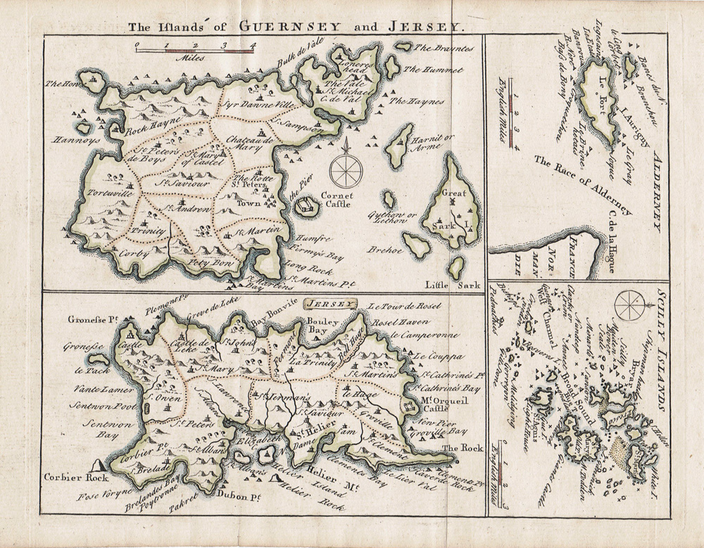 18th century map of Jersey and Guernsey
