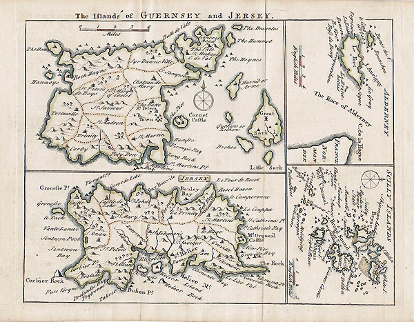 John Rocque antique map of Channel Islands