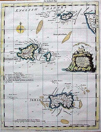 Antique map of the Channel Islands, Jersey, Guernsey, Sark, Alderney - Thomas Kitchin 1753