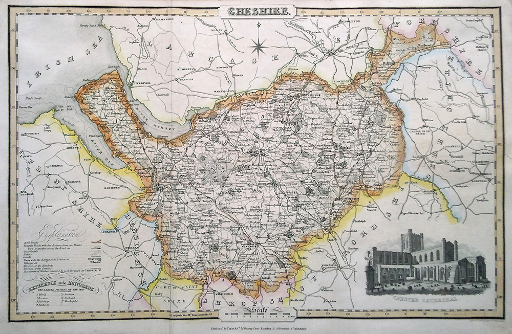 Victorian map of Cheshire by James Pigot