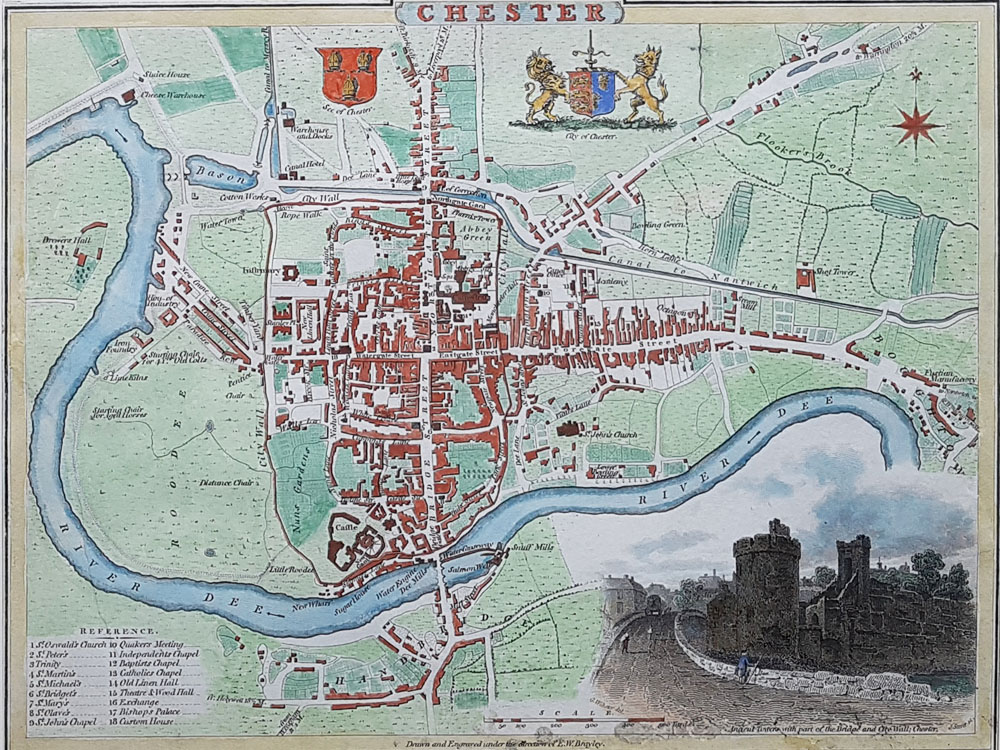 Old Town Map Of Chester Dated 1805 For Sale Cole Roper Very