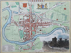 Chester antique city map by Cole Roper for sale