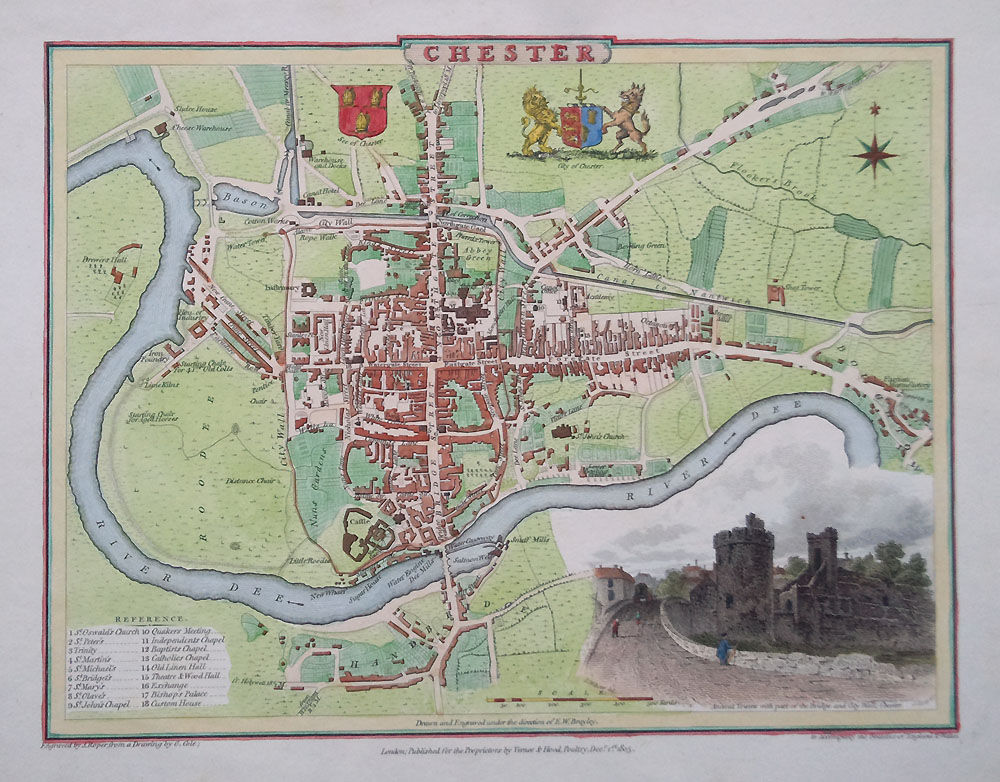 Old Town Map Of Chester Dated 1806