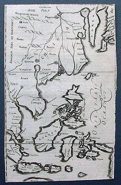 Antique map of China and Borneo