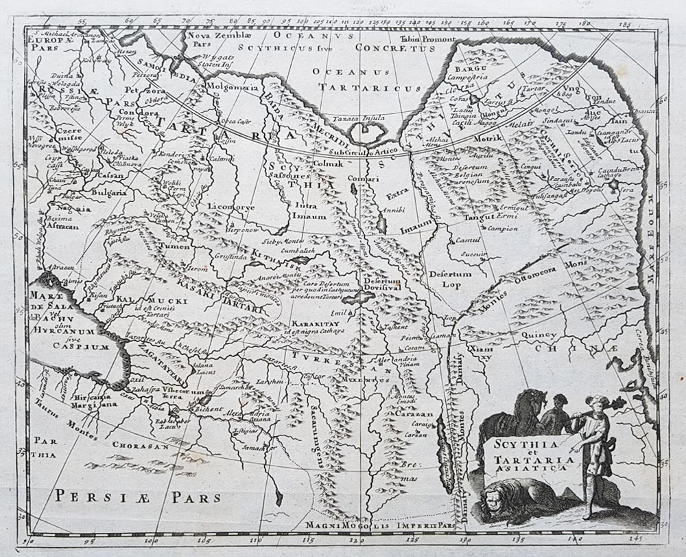 17th Century Antique Map Of China Tibet And Mongolia