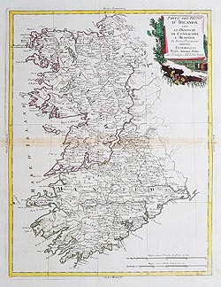 Connaught and Munster antique map by Zatta for sale