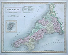 Cornwall antique map by Hall