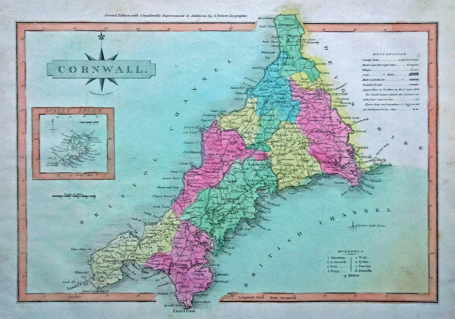 Wallis map of Cornwall dated 1816