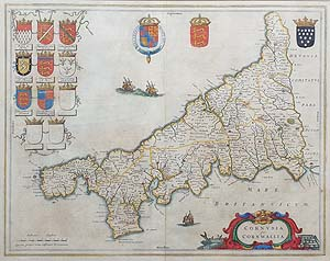 Antique  Map of Cornwall by Blaeu for sale
