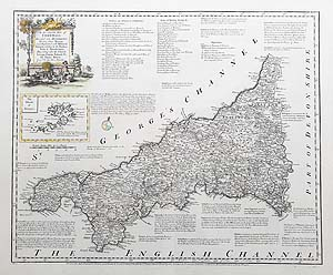 Antique map of Cornwall by Emanuel Bowen