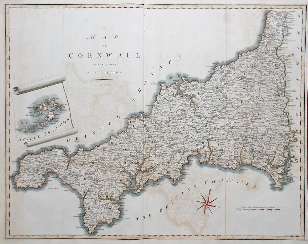 Antique Maps Cornwall John Cary - Vintage maps uk