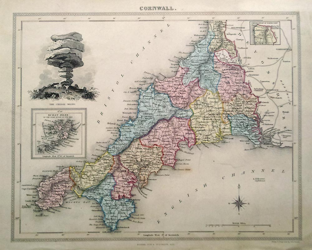Decorative 19th century Map of Cornwall Map