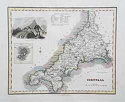 Cornwall Victorian map for sale - Fullarton