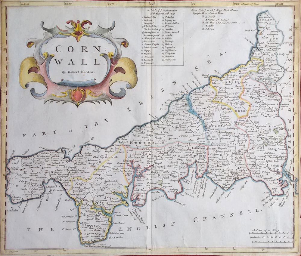 Cornwall map by Robert Morden