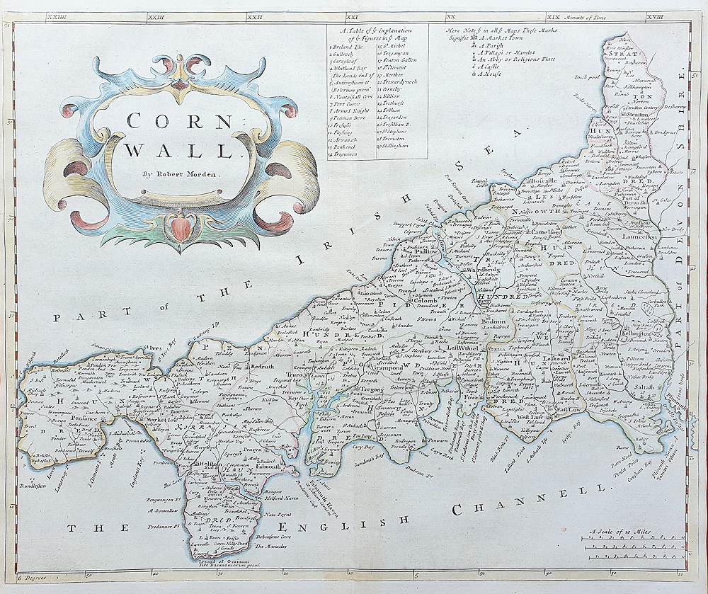Robert Morden original 18th century map of Cornwall on