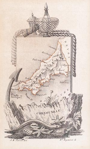 antique map of Cornwall by Perrot