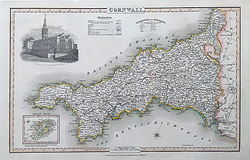 Cornwall map by Pigot for sale online