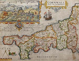 Antique Map of Cornwall by William Kip after Saxton