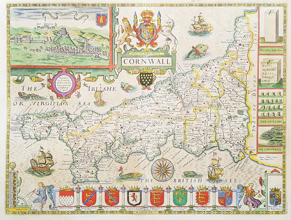 Antique map of Cornwall by Speed