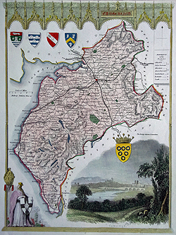 Cumberland antique map by Thomas Moule for sale