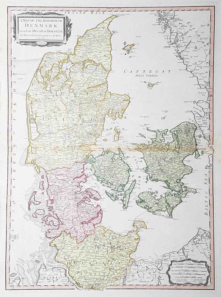 Denmark in 1790 - antique map by William Faden for sale