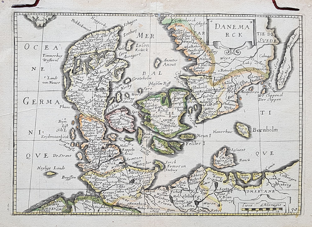 Danmark -  antique map for sale