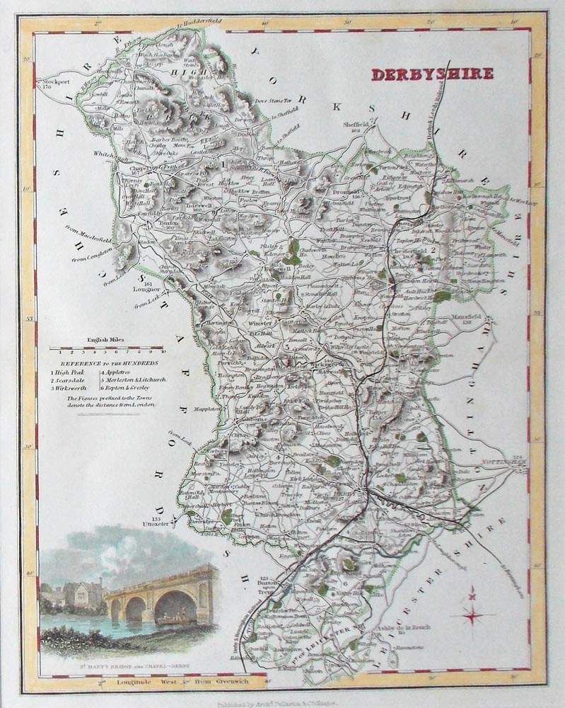 Antique map of Derbyshire by Archibald Fullarton for sale