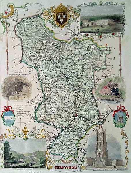 Antique Map of Derbyshire by Thomas Moule