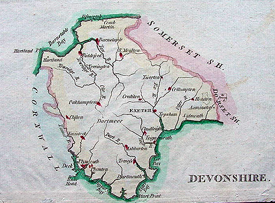 John Aikin antique map Devon