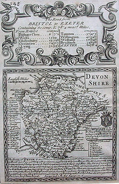 Antique Map of Devon by Emmanuel Bowen and Thomas Bowles circa 1720