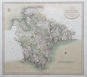 Cary map of Devon for sale