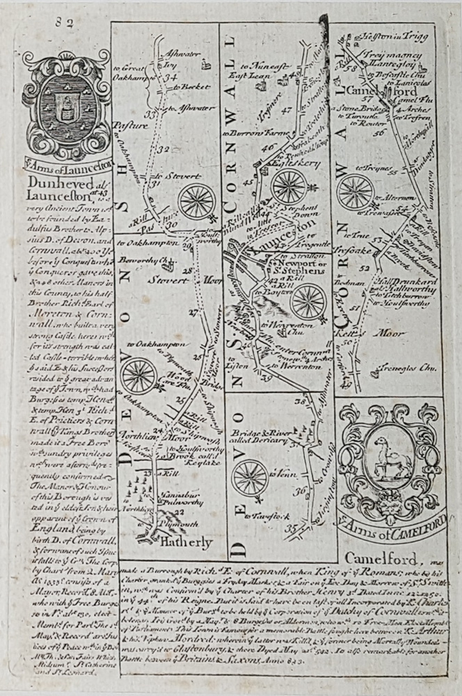 Antique 18th century road map Devon and Cornwall by Owen and Bowen