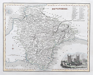 Devonshire antique map by Fullarton for sale