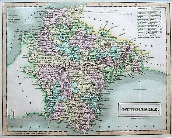 Antique Map of Devon by Sidney hall