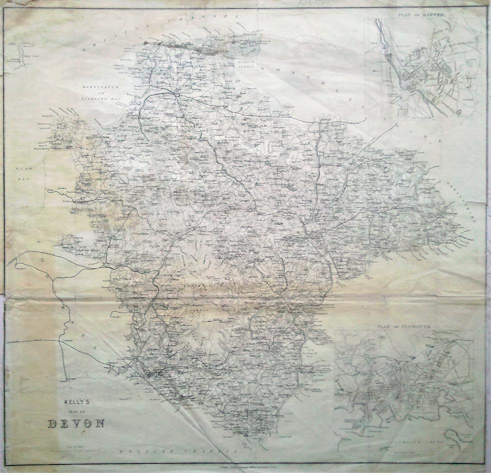 Antique Map Devon Kelly Circa 1889 Very Scarce
