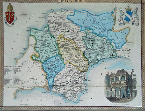 Antique Map of Devon by Thomas Moule