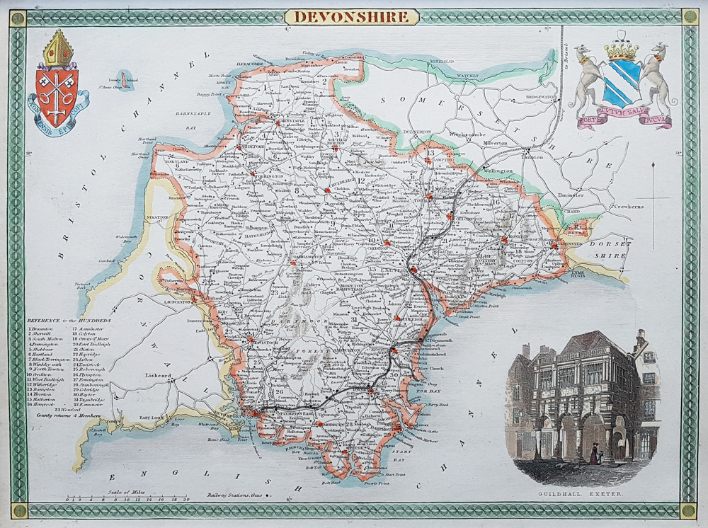Antique map of Devonshire by Thomas Moule