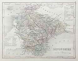 Antique map of Devon by Joshua Archer for sale