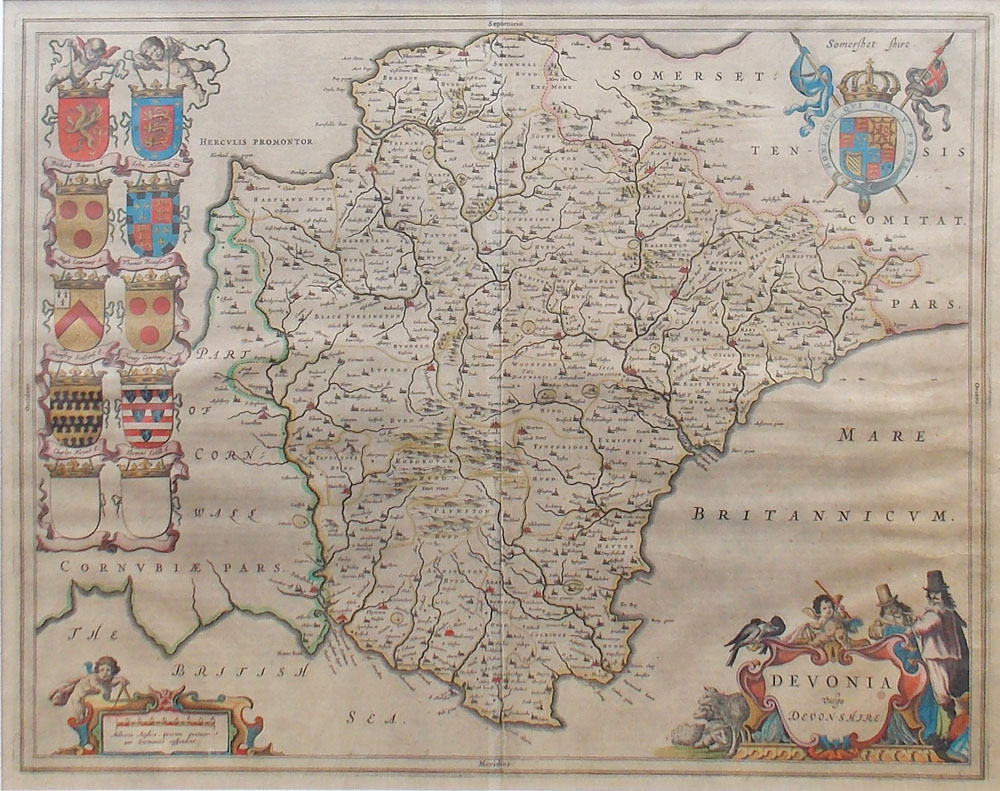 Original 17th century map of Devonshire by Joan Blaeu for sale