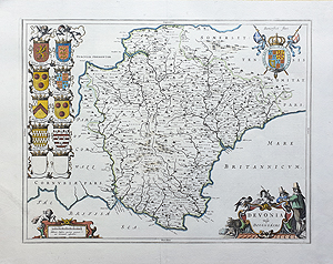 Antique  Map of Devonshire by Blaeu for sale