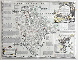 Antique map of Devonshire - Emanuel Bowen for sale